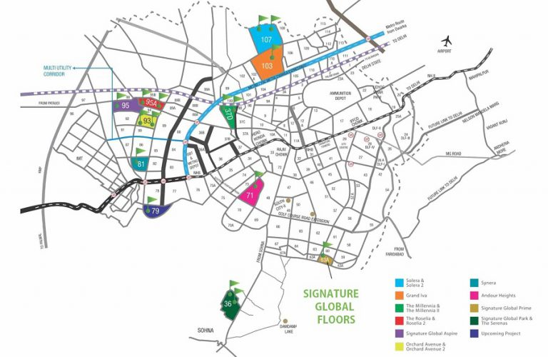 Signature Global floors sector 63A location map